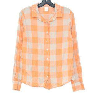 J Crew Top The Boy Shirt Button Up Orange 8 DC